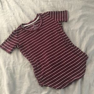 Tops - Maroon and white striped t shirt